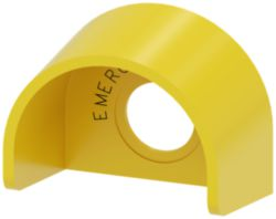 Protective collar for emergency stop mushroom pushbutton, yellow, plas