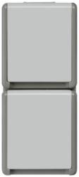 DELTA flaeche IP44, AP Dark gray/light gray SCHUKO socket outlet 2-fol