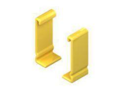 Schutzkappenpaar, zur Abdeckung d. Kabelleiterenden mit Höhe 100 mm, Kunststoff, PVC-weich, Farbe gelb