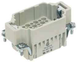 Inserts, Crimp termination, Male, Polycarbonate (PC), RAL 7032 (pebble grey), Rated current: 10 A, Size: 10 B, Contacts: 42