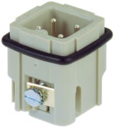 Inserts, Screw termination, Male, Polycarbonate (PC), RAL 7032 (pebble grey), Rated current: 10 A, Size: 3 A, Contacts: 3