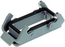 Bulkhead mounted housing, Size: 24 B, Low construction, Double locking lever, Polycarbonate (PC), Stainless steel