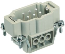 Inserts, Screw termination, Male, Polycarbonate (PC), RAL 7032 (pebble grey), Rated current: 16 A, Size: 6 B, Contacts: 6