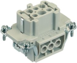 Inserts, Screw termination, Female, Polycarbonate (PC), RAL 7032 (pebble grey), Rated current: 16 A, Size: 6 B, Contacts: 6