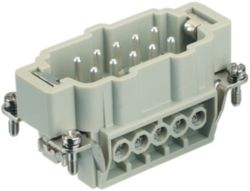 Inserts, Screw termination, Male, Polycarbonate (PC), RAL 7032 (pebble grey), Rated current: 16 A, Size: 10 B, Contacts: 10