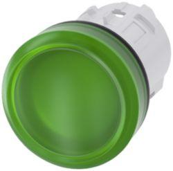 Indicator light, 22 mm, round, plastic, green, lens, smooth