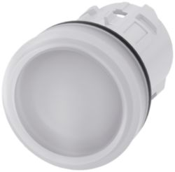 Indicator light, 22 mm, round, plastic, white, lens, smooth