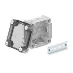 Junction box with high transparent cover 114x114x76, PP/PC, Light grey, 7035