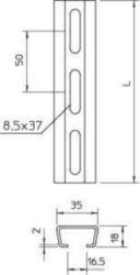 Support/profile rail OBO 2063 L 2M FT 1112759