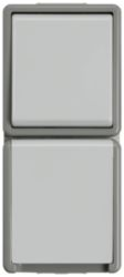 DELTA fläche IP44, AP Dark gray/light gray Two-way switch, 10A 250V SC