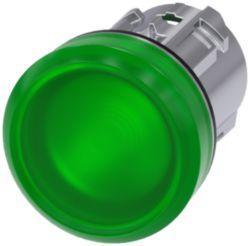 Leuchtmelder, 22mm, rund, Metall, hochglanz, grün, Linse, glatt