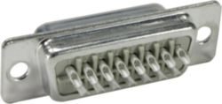 Connector, Solder cup termination, Rated current: 7.5 A, Male, Size: D-Sub 1, Thermoplastic resin, glass-fibre filled (PBTP), Plated steel