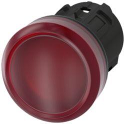 Leuchtmelder, 22mm, rund, Kunststoff, rot, Linse, glatt